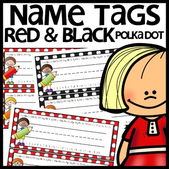 Name Tags (Red and Black Polka Dot)