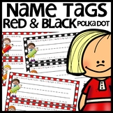 Name Tags (Red and Black Polka Dot)