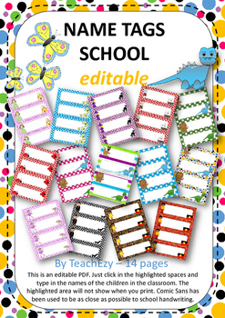 Name Tags School EDITABLE