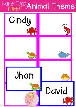 Name Tags- Sea Animals Theme