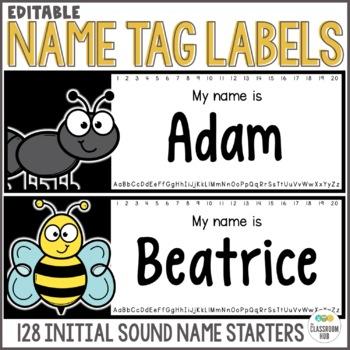 Name Tags Starting Letter Kindergarten - EDITABLE