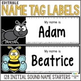 Name Tags Starting Letter Kindergarten - EDITABLE