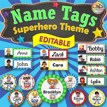 Name Tags - Superhero Themed