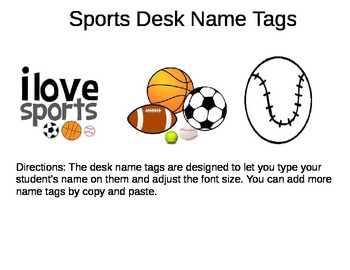 Desk Name Plates -- Sports