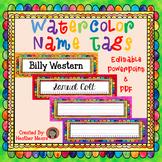 Name Tags Watercolor editable