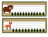 Name Tags: Woodland Animal Theme/Lined
