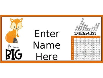 Name Tags - Woodland Creatures