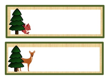 Name Tags: Woodland Theme Unlined/Tan Linen Background