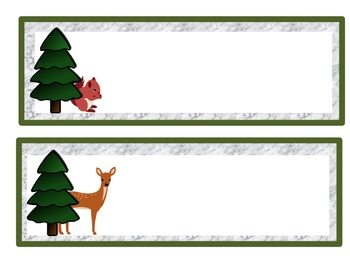 Name Tags: Woodland Theme Unlined/Wintery Background