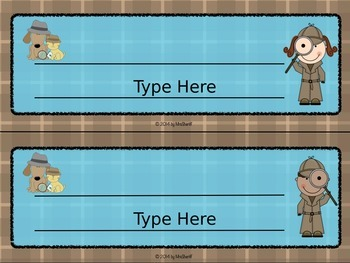 Name Tags and Welcome Poster - Detective {EDITABLE}