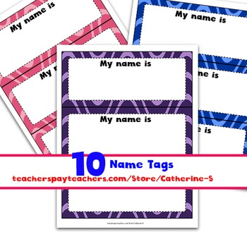 Name Tags first day of school