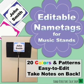 beginning band music stand name tags editable by band directors