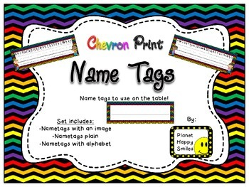 Name Tags for Student desks ~ Chevron Rainbow Print with black background