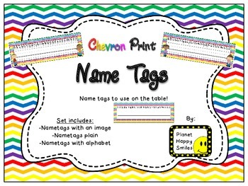 Name Tags for Student desks ~ Chevron Rainbow Print with white background
