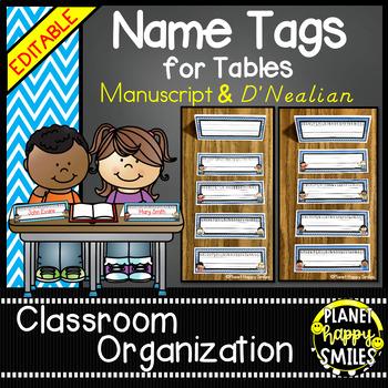 Name Tags for Student desks (EDITABLE) Aqua and Chalkboard Theme