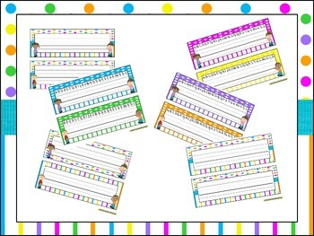 Name Tags for Student desks (EDITABLE) ~ Bright Polka Dots & Stripes