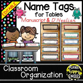 Name Tags for Student desks (EDITABLE) Monster Theme