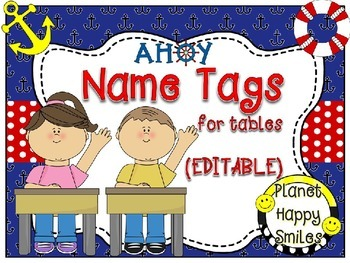 Name Tags for Student desks (EDITABLE) ~ Nautical