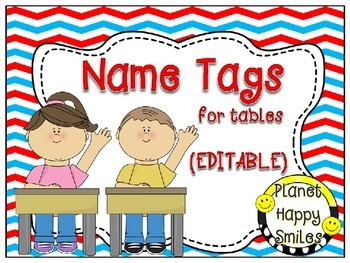 Name Tags for Student desks (EDITABLE) ~ Red, White & Blue Chevron