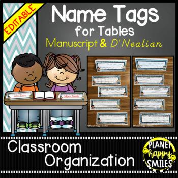 Name Tags for Student desks (EDITABLE) Teal and Chalkboard Theme