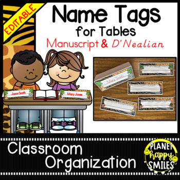 Name Tags for Student desks ~ Jungle/Safari Theme