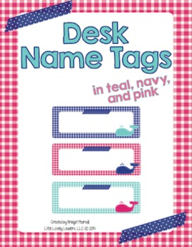 Name Tags for desks - Pink, Navy, Teal