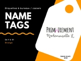 Name Tags for lockers or desk - Orange / Étiquettes pour b