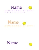 Name Tags with Sight Words