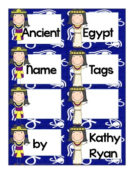 Name Tags/Classroom Label Ancient Egypt Themed Blue Background