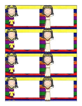 Name Tags/Classroom Label Ancient Egypt Themed Colorful Background