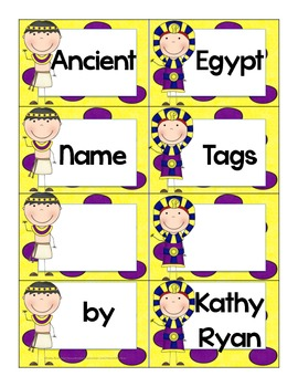 Name Tags/Classroom Label Ancient Egypt Themed Yellow Background