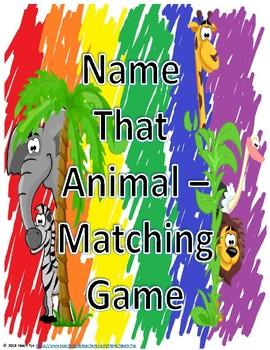 Name That Animal Matching Game
