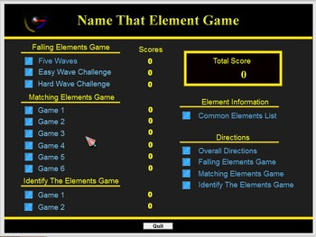 Chemistry - Name That Element Game Software - PC Version