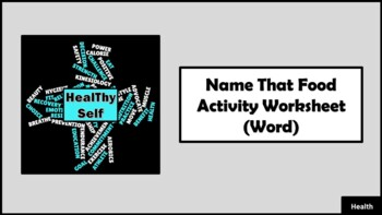 Name That Food Activity Worksheet
