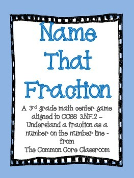 Name That Fraction-3rd Grade Math Center Game-Aligned to CCSS 3.NF.2