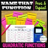 Graphs of Quadratic Functions | Name That Function | Print