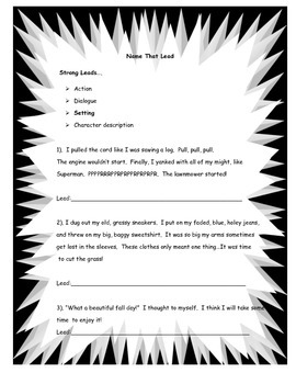 Name That Lead...How to Write a Lead