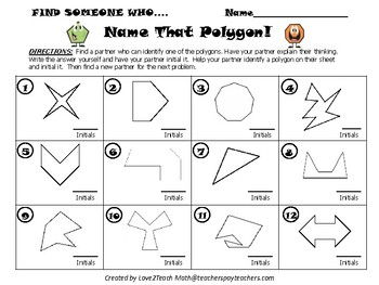 "Name That Polygon!  A ""Find Someone Who"" Kagan Activity"