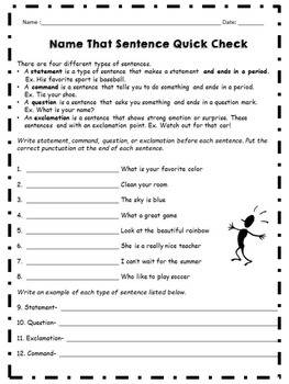 Types of Sentences Mini-Lesson,  Anchor Charts, and Assessment Pack