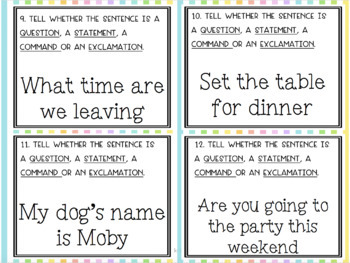 Types of Sentences SCOOT! Game, Task Cards or Assessment with 4 Posters