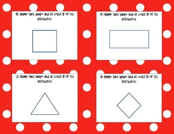 Name That Shape & Attribute Task Cards & Recording Sheet