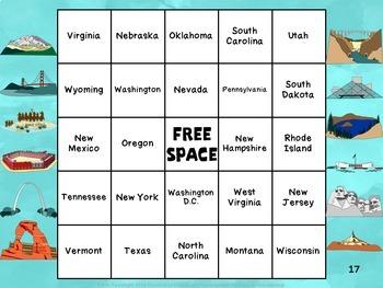 Name That State Bingo Game  2 (Montana - Wyoming)