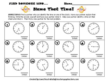 """Name That Time!  A """"Find Someone Who"""" Kagan Activity"""