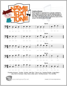 Name That Tune | Free Bass Clef Note Name Worksheet (Digital Print)