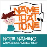 Name That Tune | Free Treble Clef Note Name Worksheet (Digital Print)