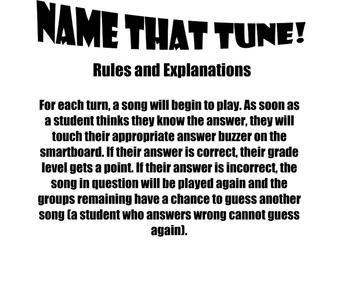 Name That Tune! Smartboard Interactive Game!