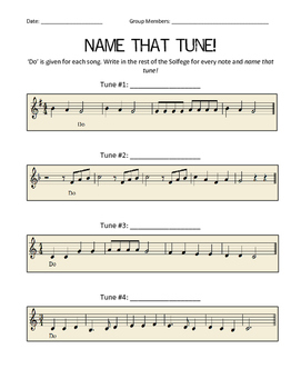Music Solfege Worksheets: name that tune solfege worksheet by sung for all tpt,