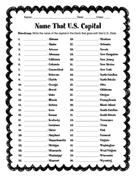 Name The 50 U.S. Capitals Worksheet & Answer Key