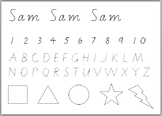 Name Tracing Template with Letters, Numbers, and Shapes
