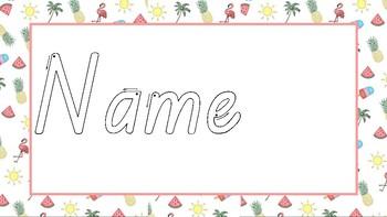 Name- Tropical Theme Editable